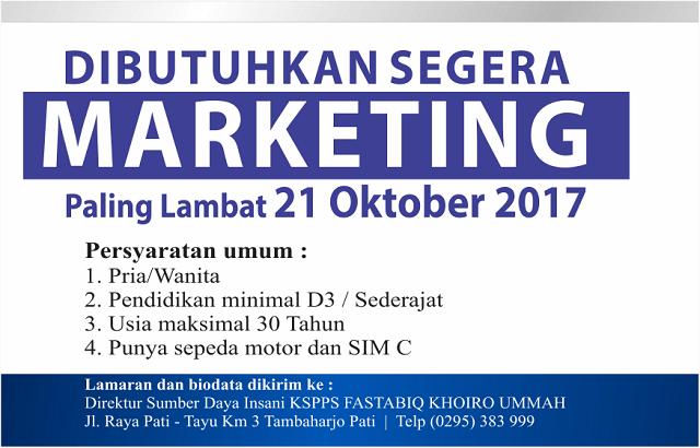 KSPPS Fastabiq Buka Lowongan Kerja Marketing, Ini Syaratnya