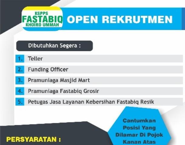 Open Rekrutmen Fastabiq, Ini Syaratnya